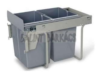 Kihúzható fékes szelektív hulladékgyűjtő 400-as elembe 2×20 Literes