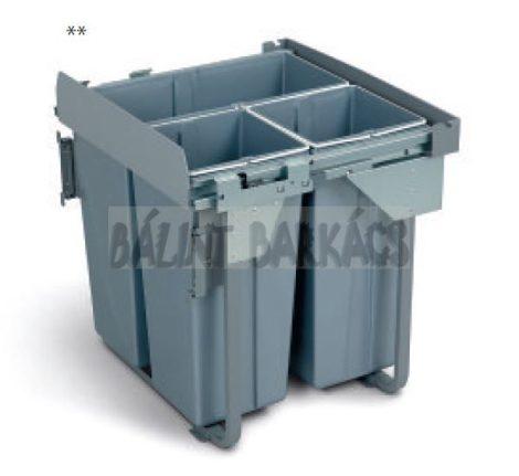 Kihúzható fékes szelektív hulladékgyűjtő 60cm 1×34 + 2×17